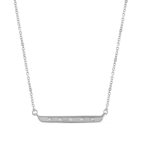 JewelonFire 1/20 Ct Genuine White Diamond Bar Layer Necklace in Silver -Assorted Color