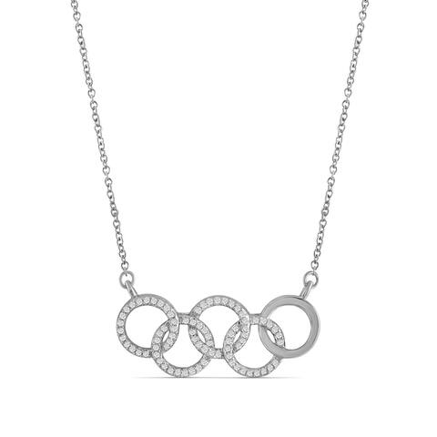JewelonFire 1/4 Ct Genuine White Diamond Interlocking Circles Necklace in Silver - Assorted Color