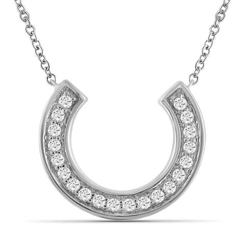 JewelonFire 1/5 Ct Genuine White Diamond Horseshoe Necklace in Sterling Silver - Assorted Color
