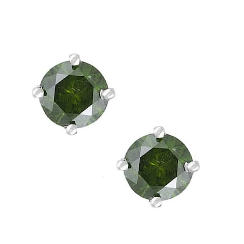 Sterling Silver with 1.00 CTTW Genuine Green Diamond Stud Earring