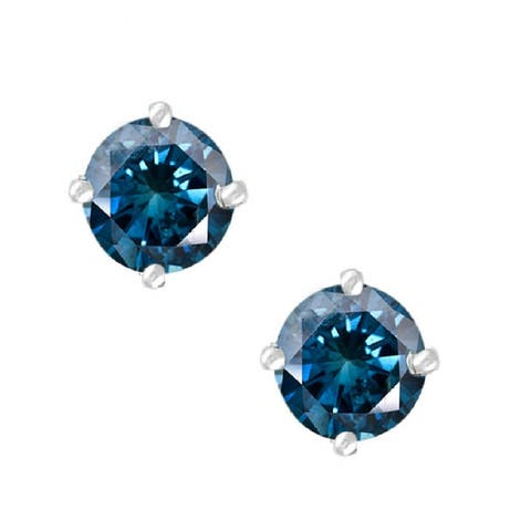 Sterling Silver with 1.00 CTTW Genuine Blue Diamond Stud Earring