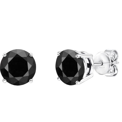 Sterling Silver with 2.50 CTTW Genuine Black Diamond Stud Earring