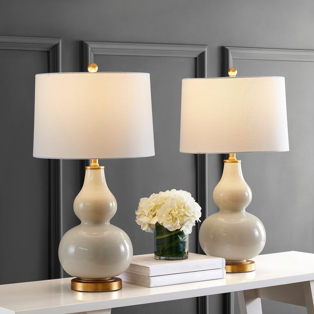Modern Gold Dipped Cement Table Top Bedside Lamp with Natural Linen Shade 24 Inches Tall Set of 2 Accent Lamps