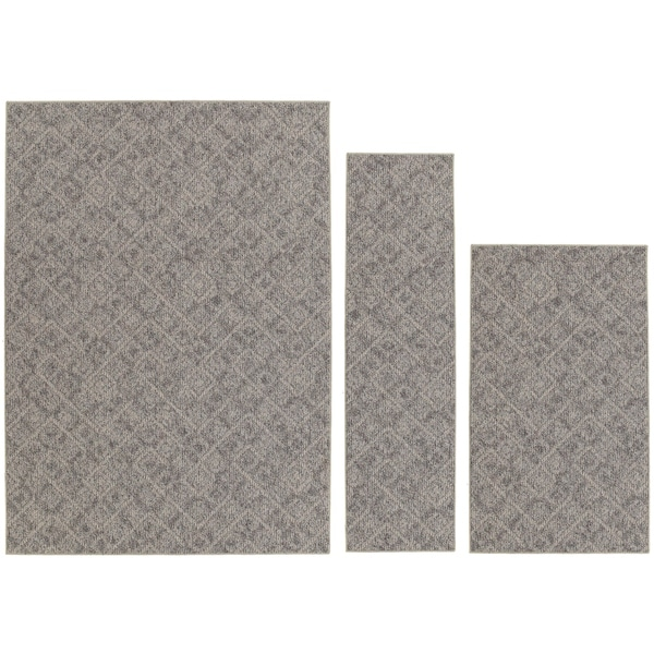 Garland Rug Classic Berber Area Rug 3 Piece Set (4 ft. 11 in x 7 ft., 3'x4', 2' x 5') Earth Tone