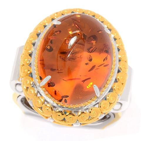 Gems en Vogue Palladium Silver Carved Baltic Amber Euro Shank Ring