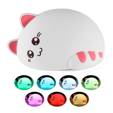 """Silicone Tap Color Changing Animal Night Light & Remote - Sleepy Kitty - 6.5 x 4 x 4.6"""""""