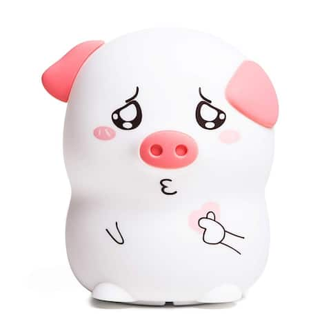 """Silicone Tap Color Changing Animal LED Night Light & Remote - Piggy - 3.5 x 3.3 x 4.5"""""""