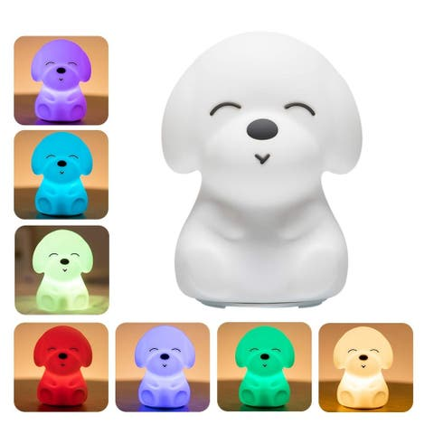 Silicone Tap Color Changing Animal LED Night Light & Remote - Puppy - 4.8 x 4.8 x 6""