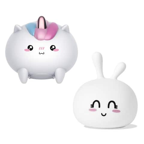 """2-Pack Silicone Tap Color Animal LED Night Light - Bunny & Unicorn - 11 x 5.2 x 5.7"""""""