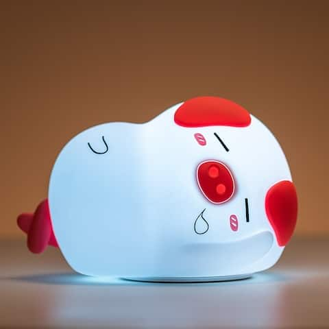 """Silicone Tap Color Changing Animal Night Light & Remote - Sleepy Piggy - 6.5 x 4 x 4.6"""""""