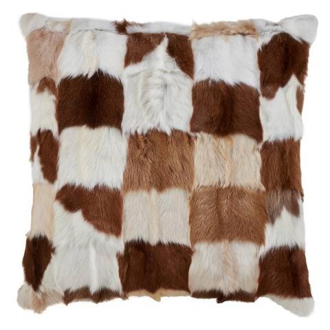 Patchwork Goat Fur Throw Pillow
