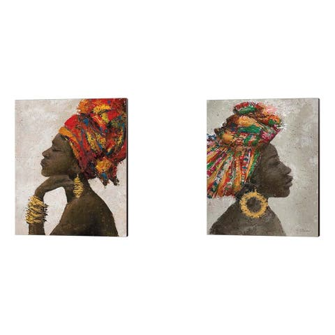 Marie-Elaine Cusson 'Portrait of a Woman (gold hoop)' Canvas Art (Set of 2) - 12 x 15