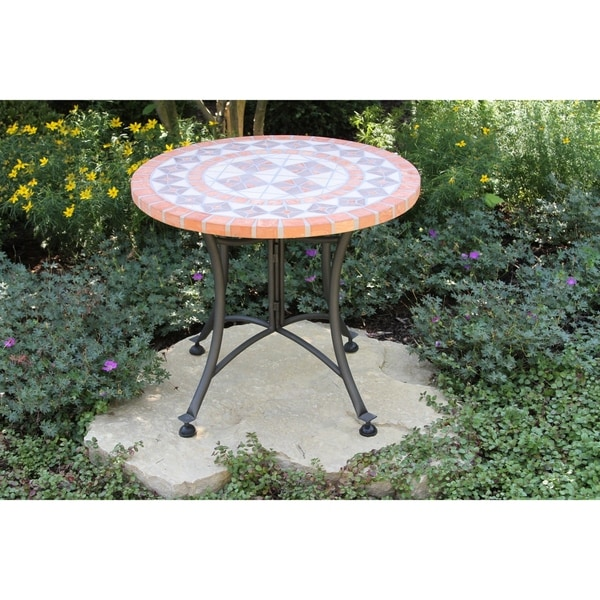 """24"""" Dia. Terra Cotta Accent Table. Opens flyout."""