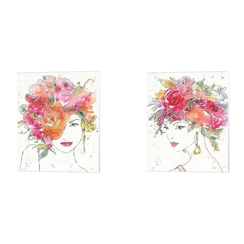 Anne Tavoletti 'Floral Figures A' Canvas Art (Set of 2) - 12 x 15