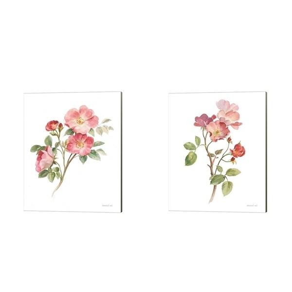 Danhui Nai 'Sprigs of Summer on White' Canvas Art (Set of 2)