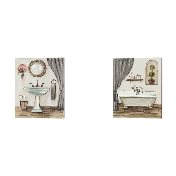 Silvia Vassileva 'Tuscan Bath Greige' Canvas Art (Set of 2)