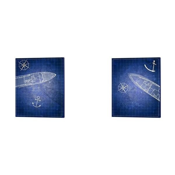 Addie Marie 'Blue Prints' Canvas Art (Set of 2)