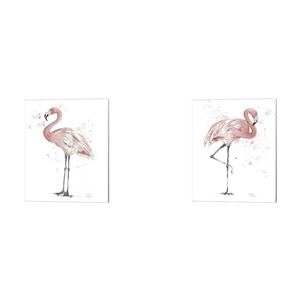 Patricia Pinto 'Flamingo Stand' Canvas Art (Set of 2)
