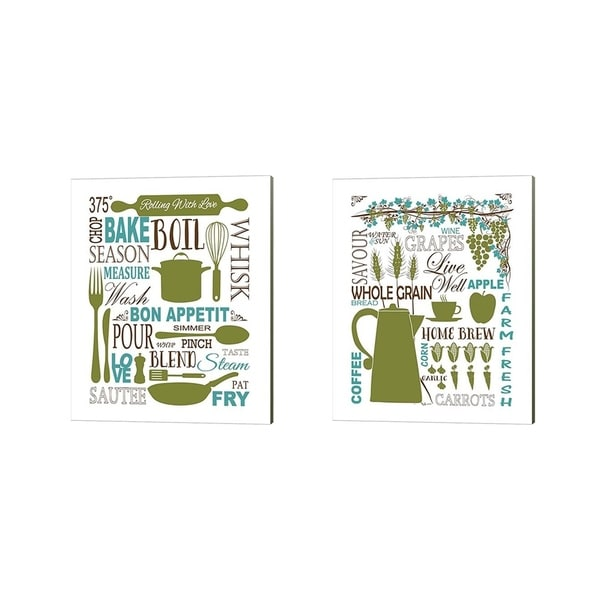 Leslie Fuqua 'Culinary Love (color)' Canvas Art (Set of 2)