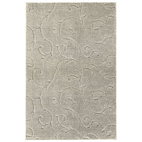 Soft Touch Inscription Area Rug With Grip Tape Iceberg Silver 7'x10'