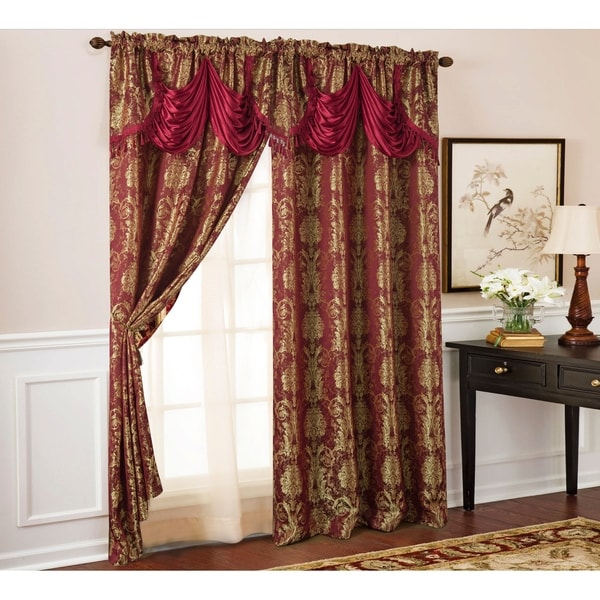 Gloria Floral Damask Textured Jacquard Single Rod Pocket Curtain Panel w/ Attached 18 in. Valance - 54 x 84 in. - 54 x 84 in.. Opens flyout.