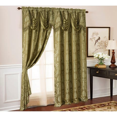 Gloria Floral Damask Textured Jacquard Single Rod Pocket Curtain Panel w/ Attached 18 in. Valance - 54 x 84 in. - 54 x 84 in.