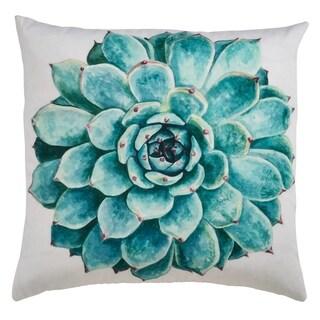 Echeveria Succulent Print Outdoor Poly Filled Throw Pillow