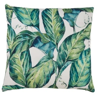 Tropical Banana Leaves Outdoor Poly Filled Throw Pillow