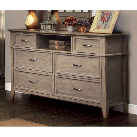 Furniture of America Reas Rustic Oak Solid Wood 6-drawer Dresser