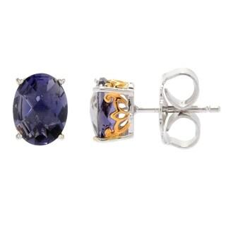 Gems en Vogue Palladium Silver Checkerboard Cut Iolite Stud Earrings