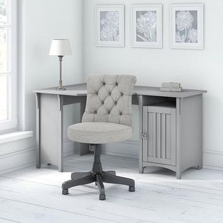 Copper Grove Leoben Corner Work Desk with Mid-back Tufted Office Chair