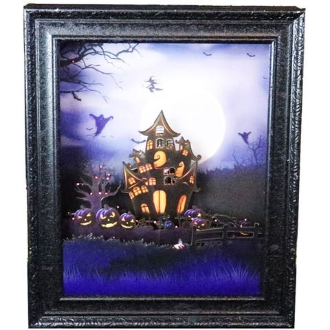 18-In. Haunted House Shadowbox with Animation and Spooky Music, Black