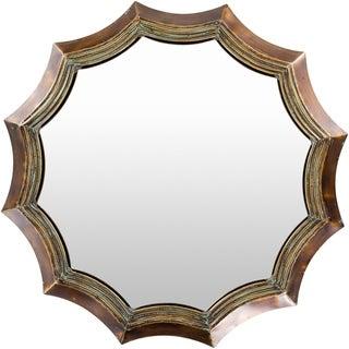 "Joyelle Patinated Scallop 39-inch Round Mirror - 39"" x 39"""