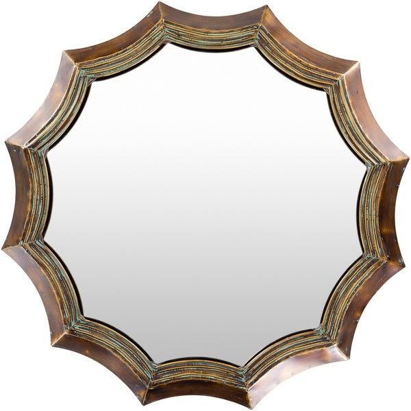 "Joyelle Patinated Scallop 39-inch Round Mirror - 39"" x 39"""