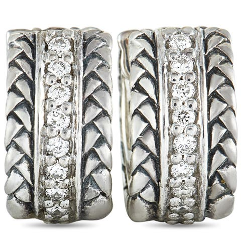 Scott Kay Sterling Silver Diamond Hoop Earrings