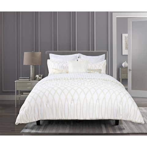 Suite Retreat Brand MADISON Geo Gold Cream 8 Piece Comforter Set - 1 Comforter, 2 Shams, 2 Euro Shams, 3 Accent Pillows