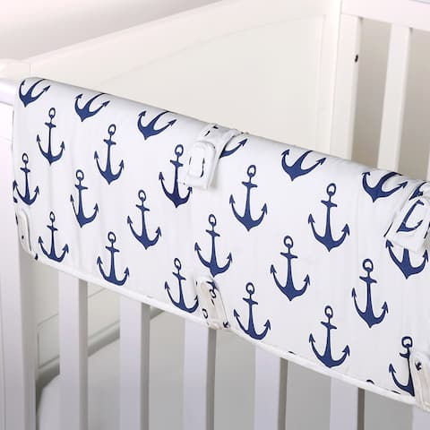 The Peanut Shell Anchor Print Padded Crib Rail Guard in Navy