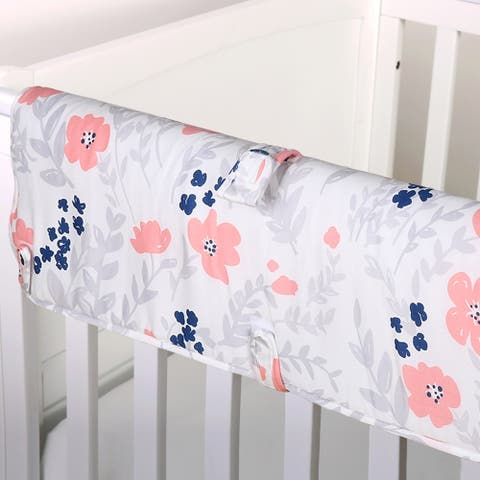 The Peanut Shell Floral Print Padded Crib Rail Guard in Coral/Navy