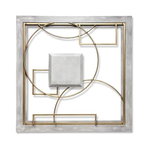 Provincial Abstract 24 inch Large Square Grey/Gold Wall Decor Modern