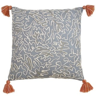 Cotton Pillow With Tasseled Doodle Design