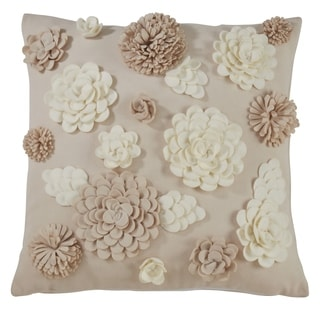 Square Pillow With Felt Flowers Design