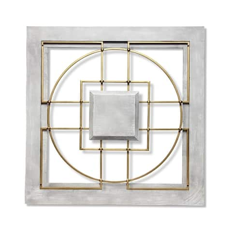 Matrix 24 inch Large Square Grey/Gold Wall Decor