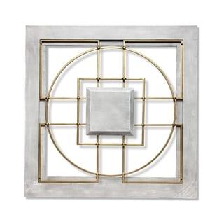 Matrix 24 inch Large Square Grey/Gold Wall Decor