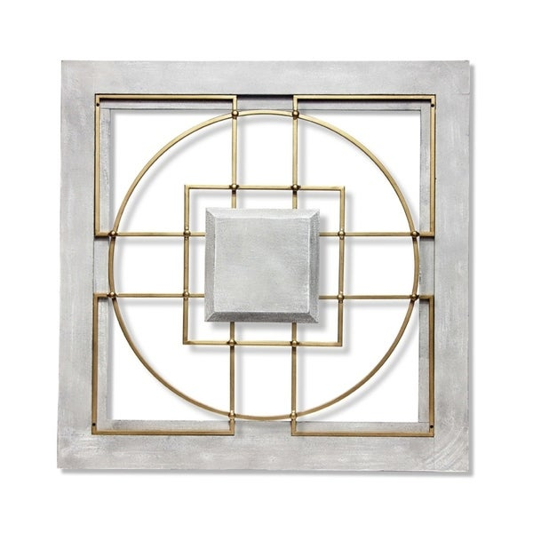 Matrix 24 inch Large Square Grey/Gold Wall Decor. Opens flyout.