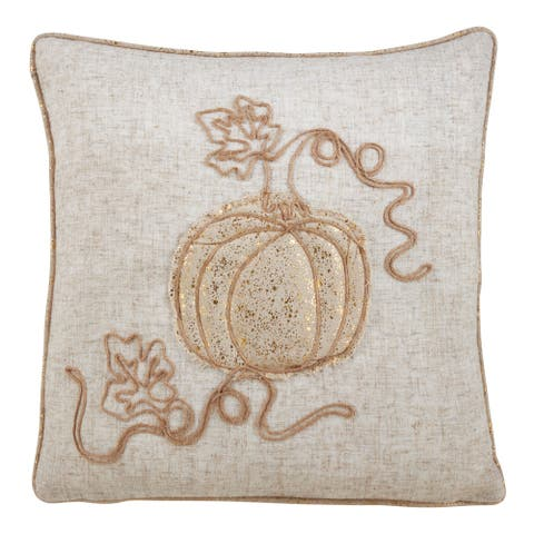 Jute Throw Pillow With Pumpkin Embroidered Design