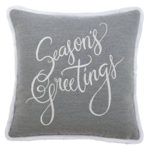 Throw Pillow with Season's Greetings Design