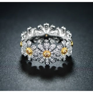 Link to Rhodium Overlay Flower Band Eternity Ring with Swarovski Elements Similar Items in Rings