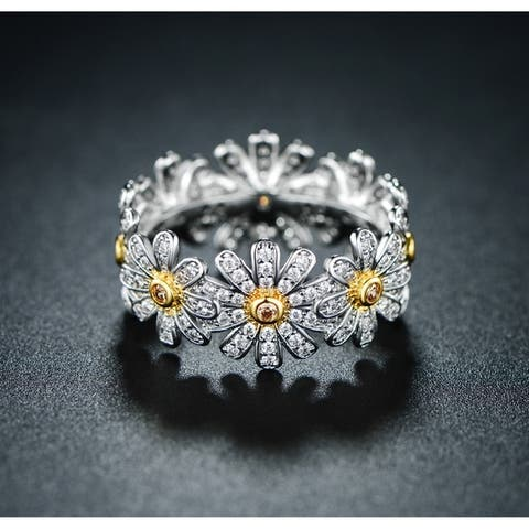 Rhodium Overlay Flower Band Eternity Ring with Swarovski Elements