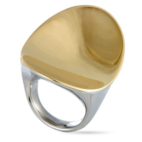 Calvin Klein Undulate Yellow PVD-Plated Stainless Steel Ring Size 6
