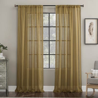 Archaeo Embroidered Border Cotton Blend Sheer Curtain, Single Panel